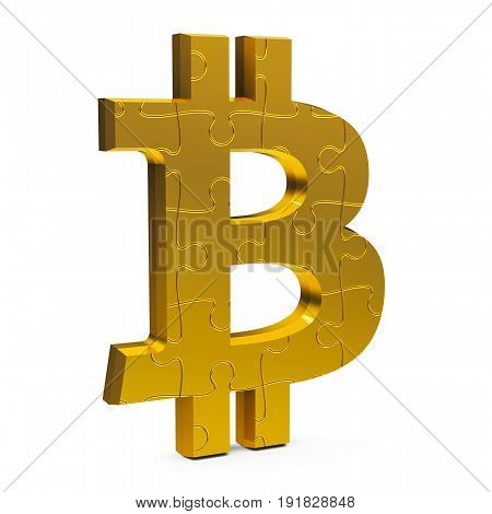 Golden puzzle Bitcoin sign isolated on white background three-dimensional rendering 3D illustration