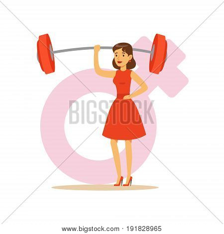 Powerful confident woman in a red dress lifting barbell with one hand, feminism colorful character vector Illustration on background of a female pink gender symbol