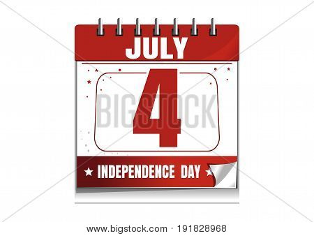 American Independence Day. Wall calendar. 4 th July. Independence Day calendar. Calendar isolated on white background. Vector illustration