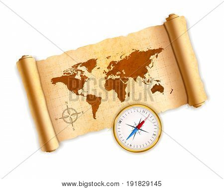Ancient world map on old textured scroll with glossy compass isolated on white