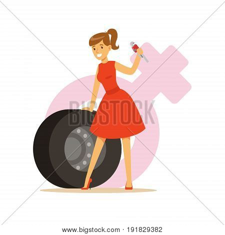 Man and woman in red dress with spanner and tire, feminism colorful character vector Illustration on background of a female pink gender symbol