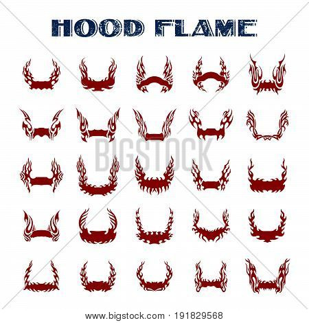 hood flame. Vinyl ready flames set. Great for vehicle graphics and T-shirt decals.