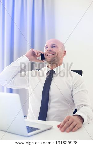 Mid adult businessman on call in home office