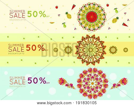 Light summer sale promotional horizontal banners with discount rate and suns consisting of fruits and flowers vector illustration