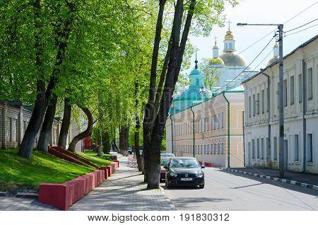 POLOTSK BELARUS - MAY 19 2017: Nizhne-Pokrovskaya Street with view of Holy Epiphany Cathedral Polotsk Belarus