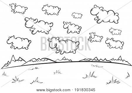 Hand drawn beautiful nature concept with lamb clouds swimming across sky on mountain and field landscape vector illustration