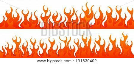 Fire flames vector set on white background