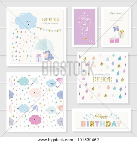 Cute cards with gold glitter elements for girls. Can be used for baby shower birthday babies clothes notebook cover design. Included two seamless patterns with rain drops and clouds. Watercolor.