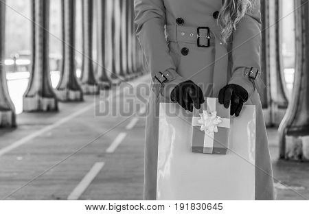 Tourist Woman With Shopping Bag And Christmas Present Box, Paris
