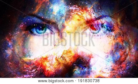 Woman eyes in cosmic background. Eye contact