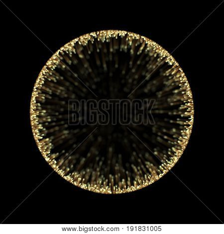 Gold sphere light frame of abstract neon circle effect background for premium product design. Sphere of sunbeam rays with golden star dust particle.