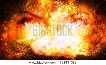 Woman eyes in cosmic background. Eye contact. Fire effect