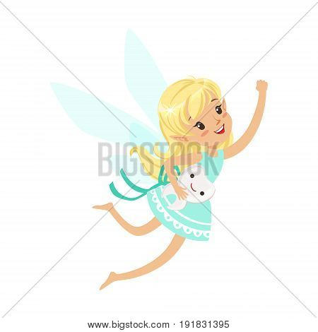 Beautiful sweet blonde Tooth Fairy girl flying with smiling tooth colorful cartoon character vector Illustration isolated on a white background