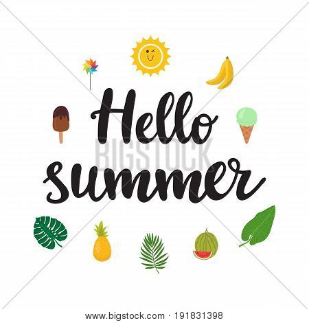 Hello Summer. Beautiful Poster With Ice-cream, Pineapple, Banana, Watermelon, Palm Leaves And Hand W