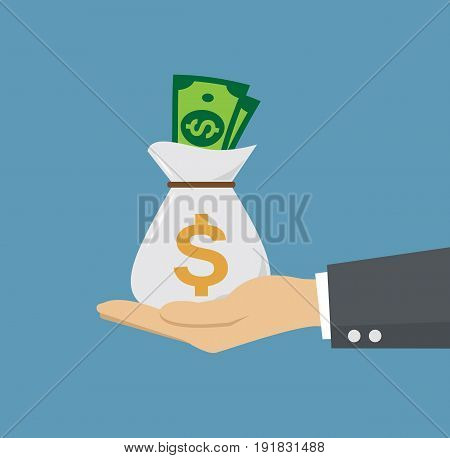 Businessman with bag of money. Hand holding a bag with money. Vector stock.