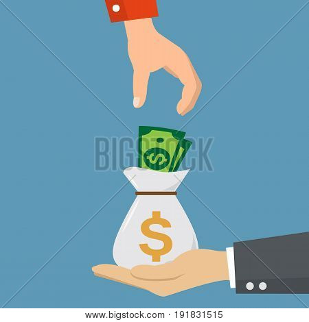 Hands exchange bag of money. Human hand gives money bag to another person. Vector stock.