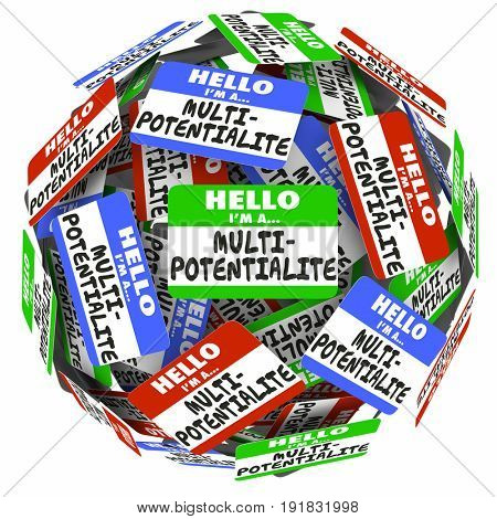 Multipotentialite Hello Name Tag Many Interests Jobs Careers 3d Illustration