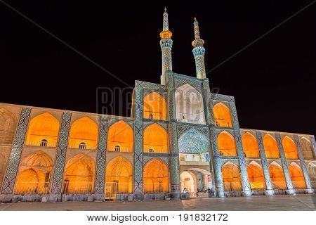 Beautiful building from 15th century, Amir Chakhmaq Complex in the center of old city Yazd Iran. Long exposure.