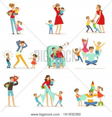 Tired parents and their children set, parenting stress vector Illustration isolated on a white background