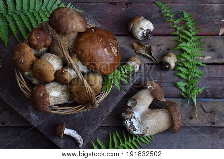 Composition Of Porcini In The Basket On Wooden Background. White Edible Wild Mushrooms. Copy Space F