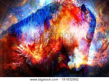 Loving horse and a girl, girl hugging a horse in cosmic space. computer collage