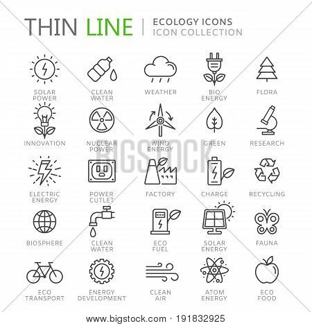 Collection of ecology thin line icons. Vector eps 10