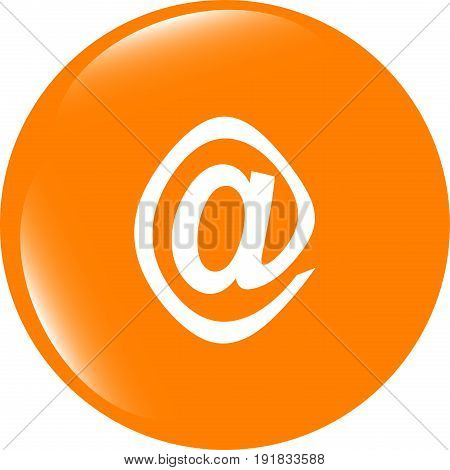 E-mail Icon Glossy Button . Trendy Flat Style Sign Isolated On White Background