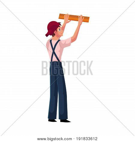 Construction worker, builder in uniform measuring wall with a ruler, cartoon vector illustration isolated on white background. Full length portrait of builder measuring something on construction site