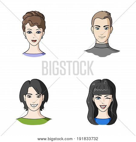 Different looks of young people.Avatar and face set collection icons in cartoon style vector symbol stock illustration .