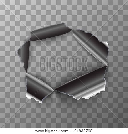Torn hole in glossy polished metal plate on transparent background