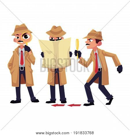 Detective character with magnifying glass, sleuthing, disguising, cartoon vector illustration isolated on white background. Funny detective character set