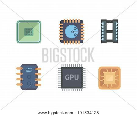 microprocessor and Electronic chips icons . set chip vector illustration.