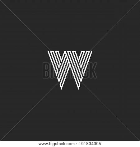 Linear W Letter Logo Modern Monogram, Maze Shape Black And White Broken Lines Hipster Initial Emblem