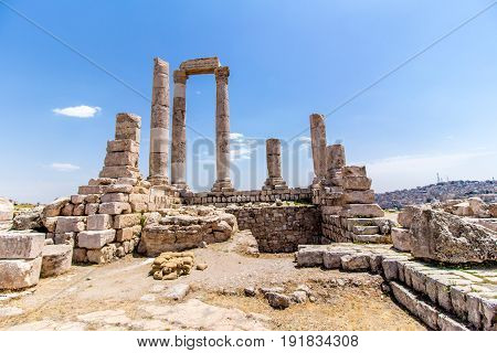 The Temple of Hercules in Amman Citadel Jordan