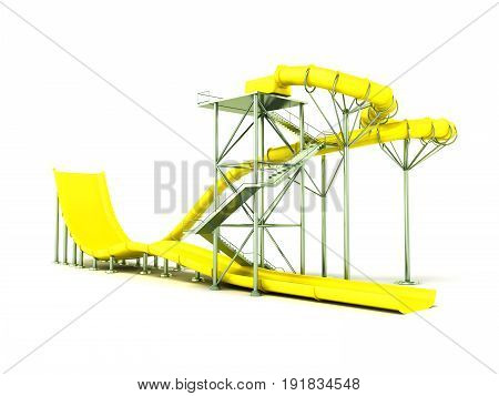 Aqua Park Water Carousel Yellow 3D Render On White Background