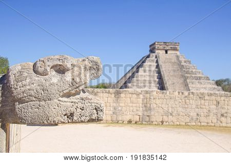 Feathered Serpent and The Castle of Kukulcan at Chichen Itza