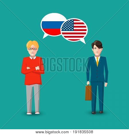 Two people with white speech bubbles with Russia and USA flags. Language study conceptual illustration