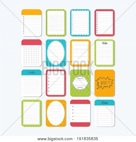 Template For Notebooks. Cute Design Elements. Notes, Labels, Stickers. Collection Of Various Note Pa