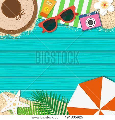 Summer Holiday Background. Season Vacation, Weekend. Vector Illustration.