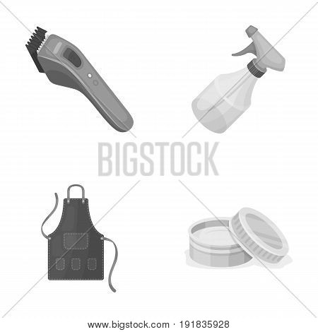 Electric clipper, apron, cream and other accessories for a male hairdresser.Barbershop set collection icons in monochrome style vector symbol stock illustration .