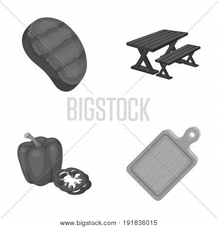 Fried steak, table with a bench for relaxation, sweet pepper, cutting board.BBQ set collection icons in monochrome style vector symbol stock illustration .