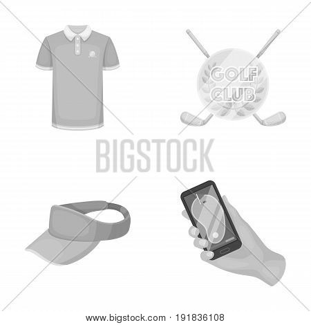 Emblem of the golf club, cap with a visor, golfer shirt, phone with a navigator.Golf club set collection icons in monochrome style vector symbol stock illustration .