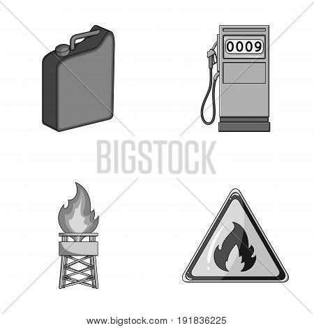 Canister for gasoline, gas station, tower, warning sign. Oil set collection icons in monochrome style vector symbol stock illustration .