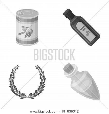 A can of canned olives, a bottle of oil with a sticker, an olive wreath, a glass jar with a cork. Olives set collection icons in monochrome style vector symbol stock illustration .