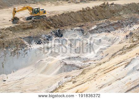 industrial sand quarry, excavator at sandpit during works, background