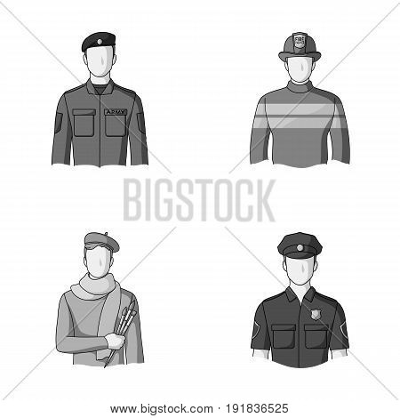 Military, fireman, artist, policeman.Profession set collection icons in monochrome style vector symbol stock illustration .