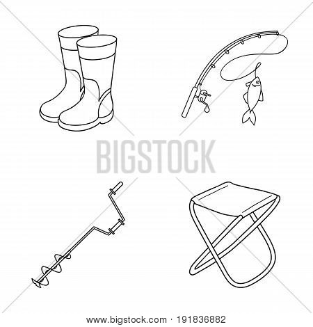Fishing, fish, catch, fishing rod .Fishing set collection icons in outline style vector symbol stock illustration .