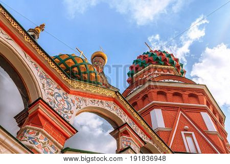 Domes of St. Basil's cathedral on Red Square in Moscow, Russia. Bottom view