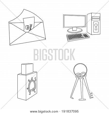 Virus, monitor, display, screen .Hackers and hacking set collection icons in outline style vector symbol stock illustration .