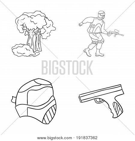 Mask, gun, paint, inventory .Paintball set collection icons in outline style vector symbol stock illustration .
